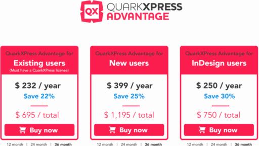 QuarkXpressの価格帯
