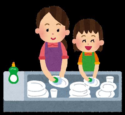 食器を洗うお母さんと、お手伝いをしている女の子のイラスト