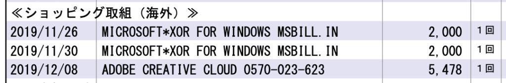 Microsoft Storeからの請求