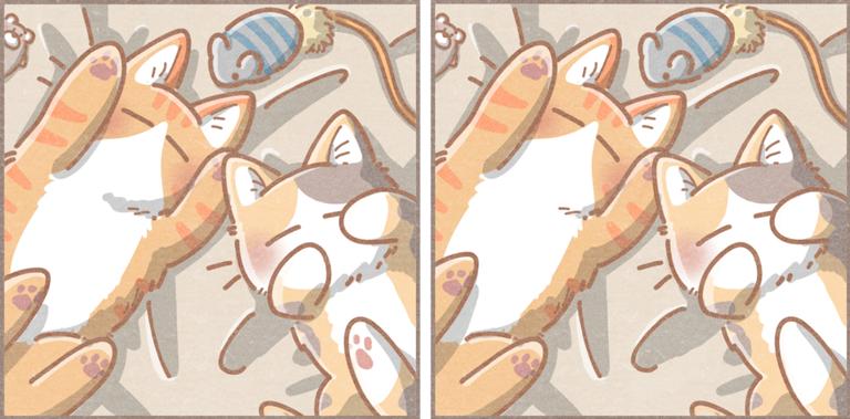 7つのまちがいさがし(難しい)『ぐっすり猫さん』