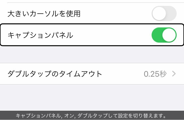 iPhoneの設定:キャプションパネル-オン
