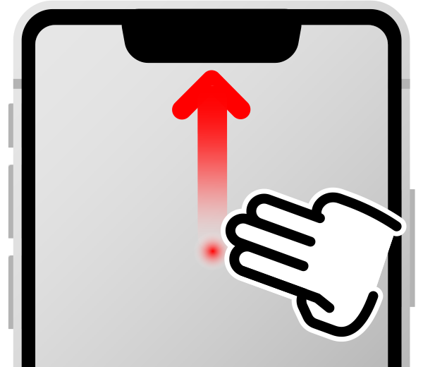 指三本で上にスワイプで下にスクロール(下の方に隠れている要素を表示する)