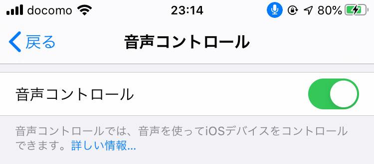 iPhoneの設定:音声コントロール