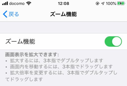 iPhoneの設定:ズームの設定ボタン