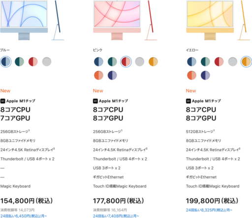 iMac(2021)のラインナップ